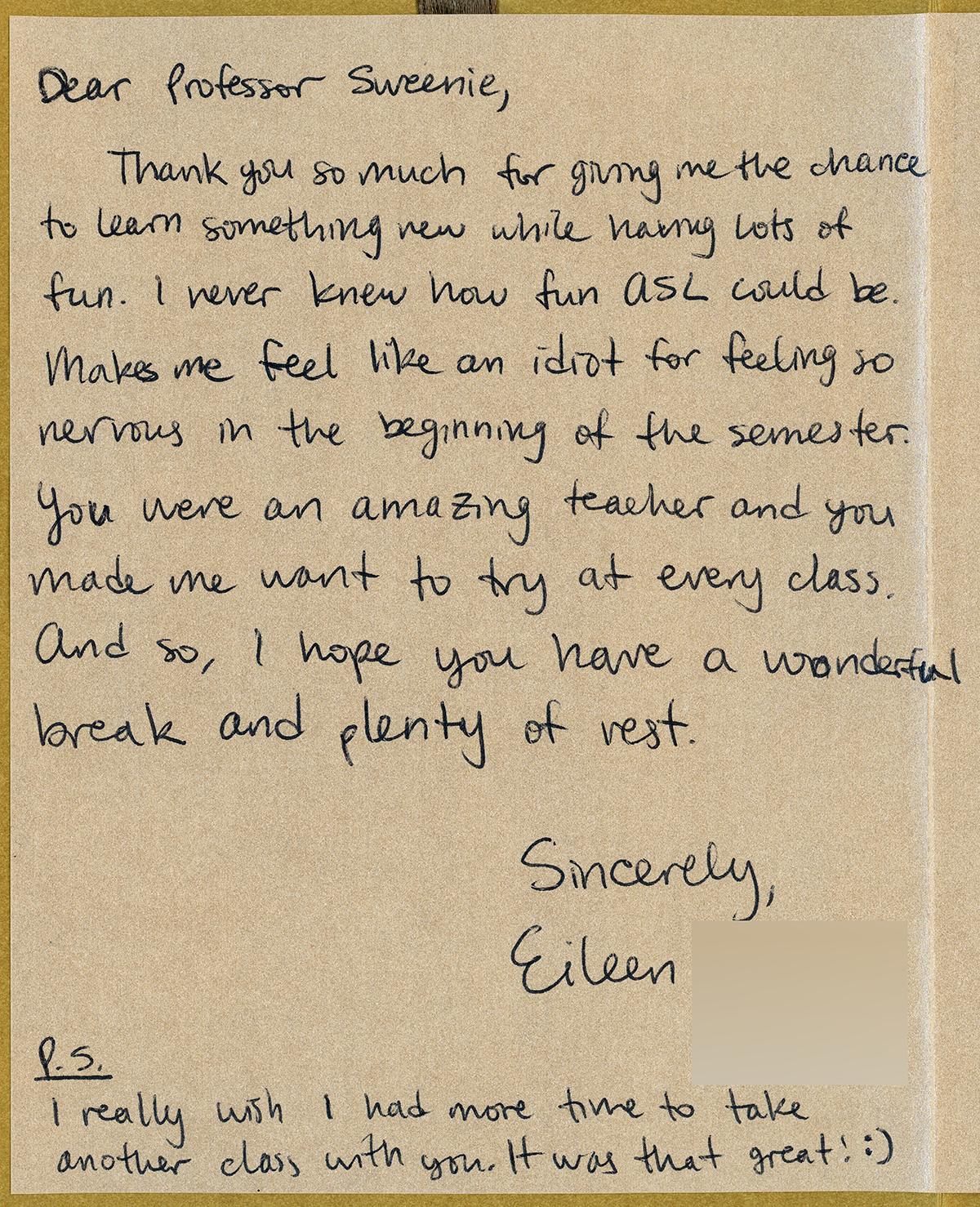 Eileen Fan Letter